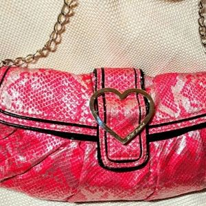 Betsey Johnson pink snake print purse like new